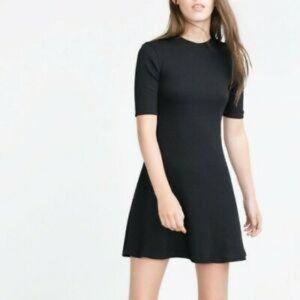 ZARA Black Ribbed Knit French Girl Flare Dress EUC